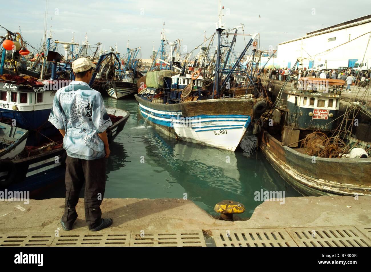 fishing port and boats Agadir Morocco Morrocco Moroco - Stock Image
