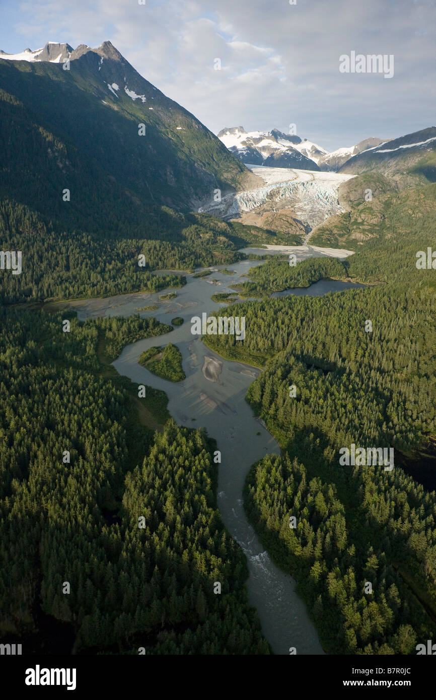 Aerial view of Herbert Glacier and river as it winds its way down from the Juneau Icefield, Tongass National Forest, - Stock Image