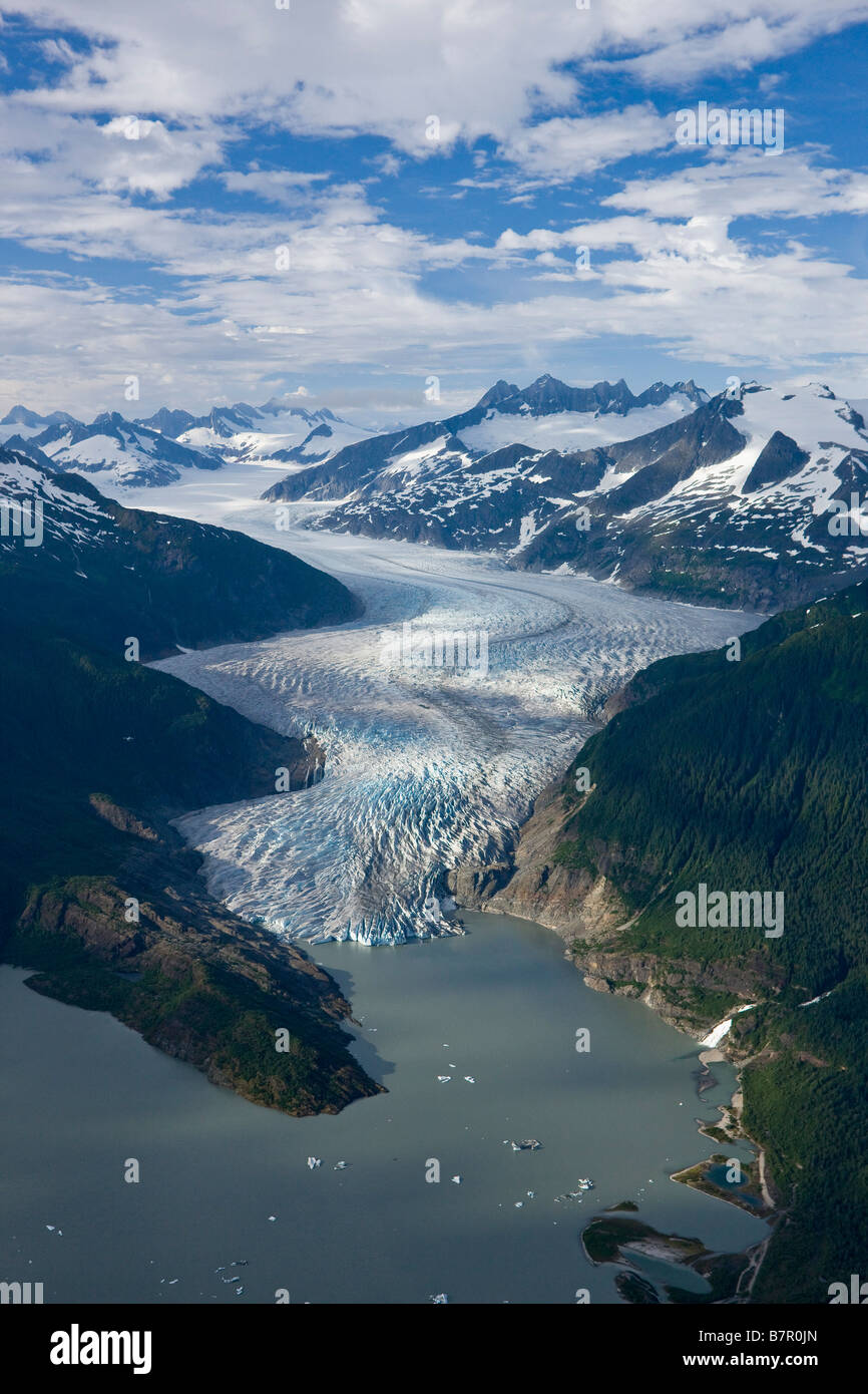 Aerial of Mendenhall Glacier winding its way down from the Juneau Icefield to Mendenhall Lake in Tongass National - Stock Image