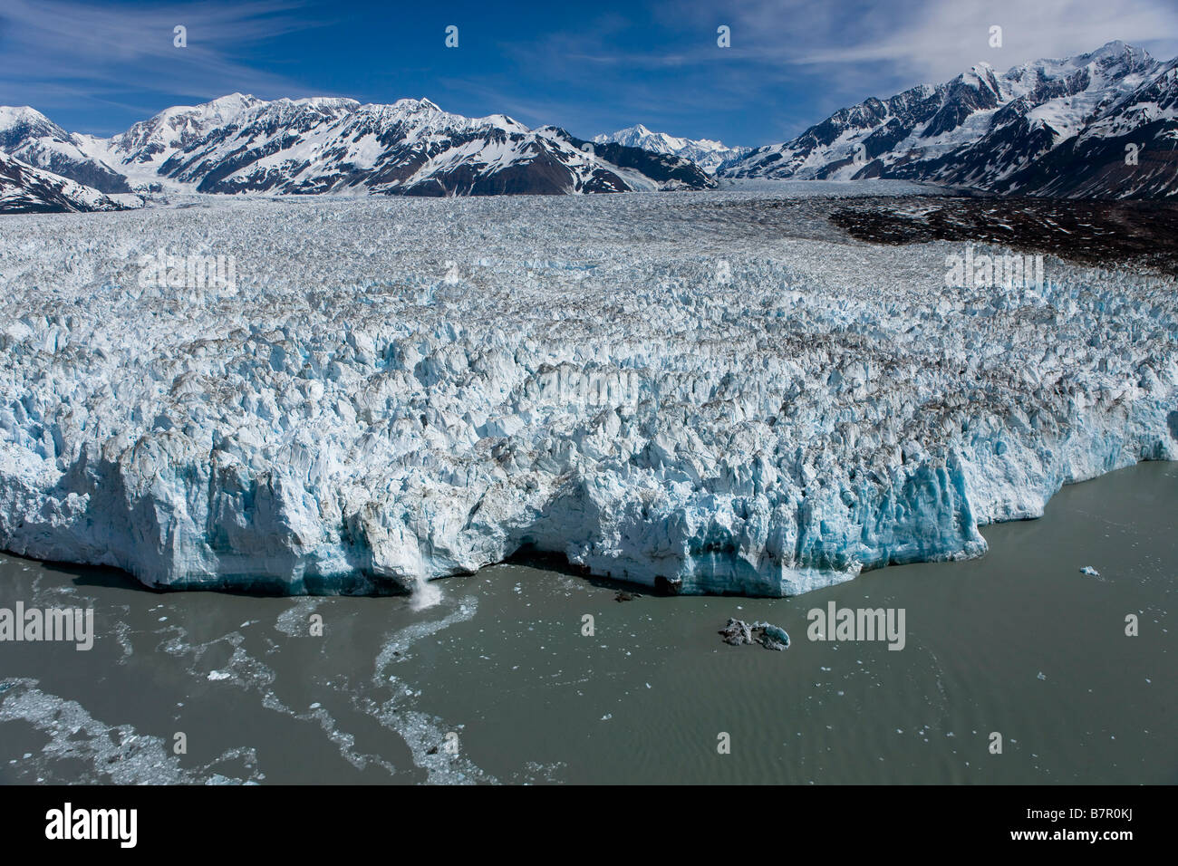 Aerial view of Hubbard Glacier with St. Elias mountain range in the background, Alaska - Stock Image