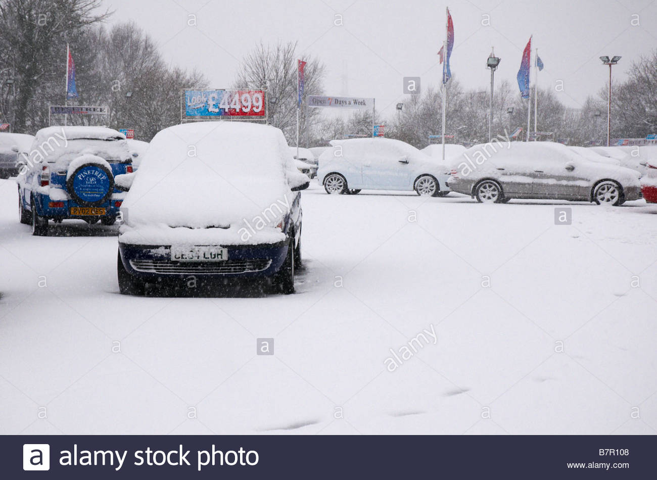 Rows of used cars covered in snow for sale in a secondhand car dealership lot - Stock Image