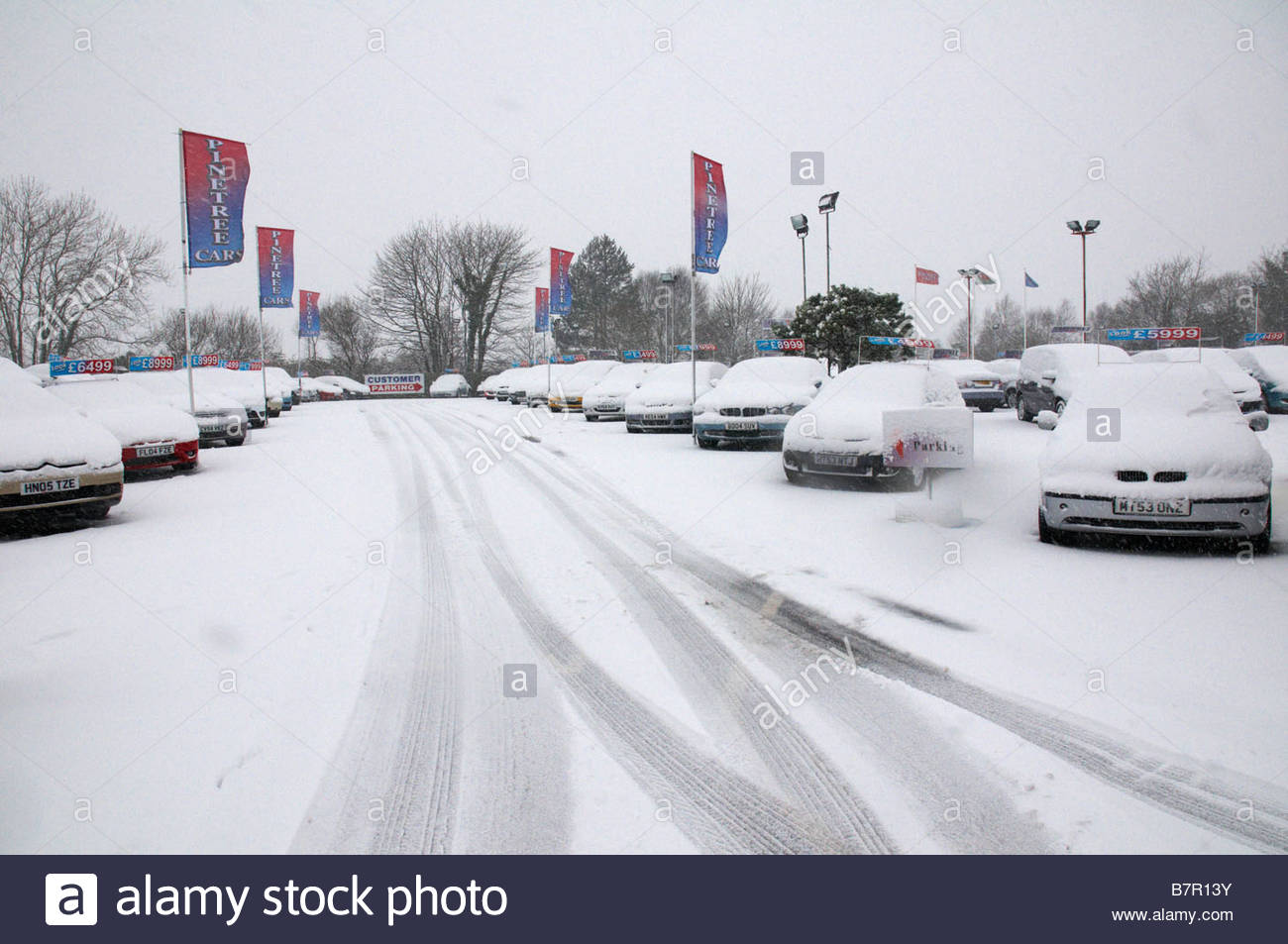 354a3e76af Rows of used cars covered in snow for sale in a secondhand car dealership  lot -
