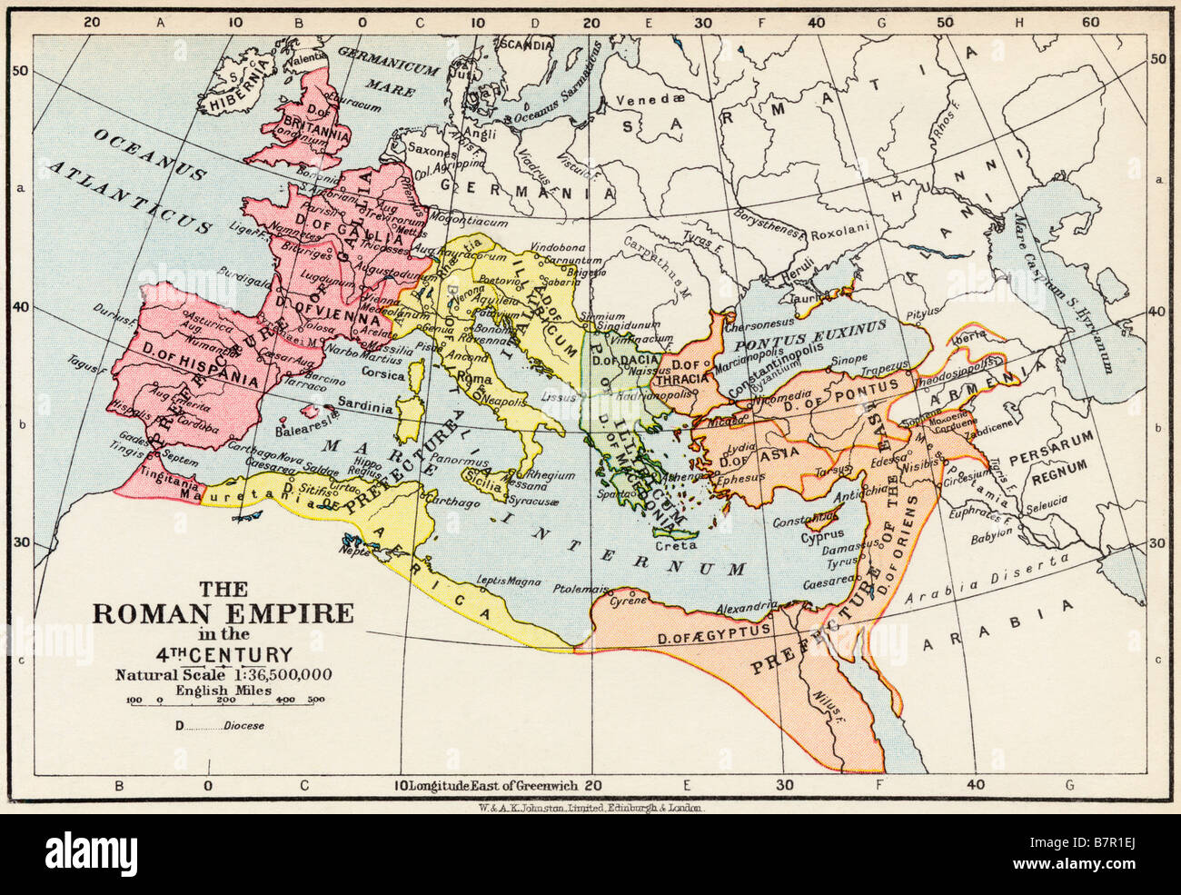 Map of the Roman Empire in the 4th Century - Stock Image