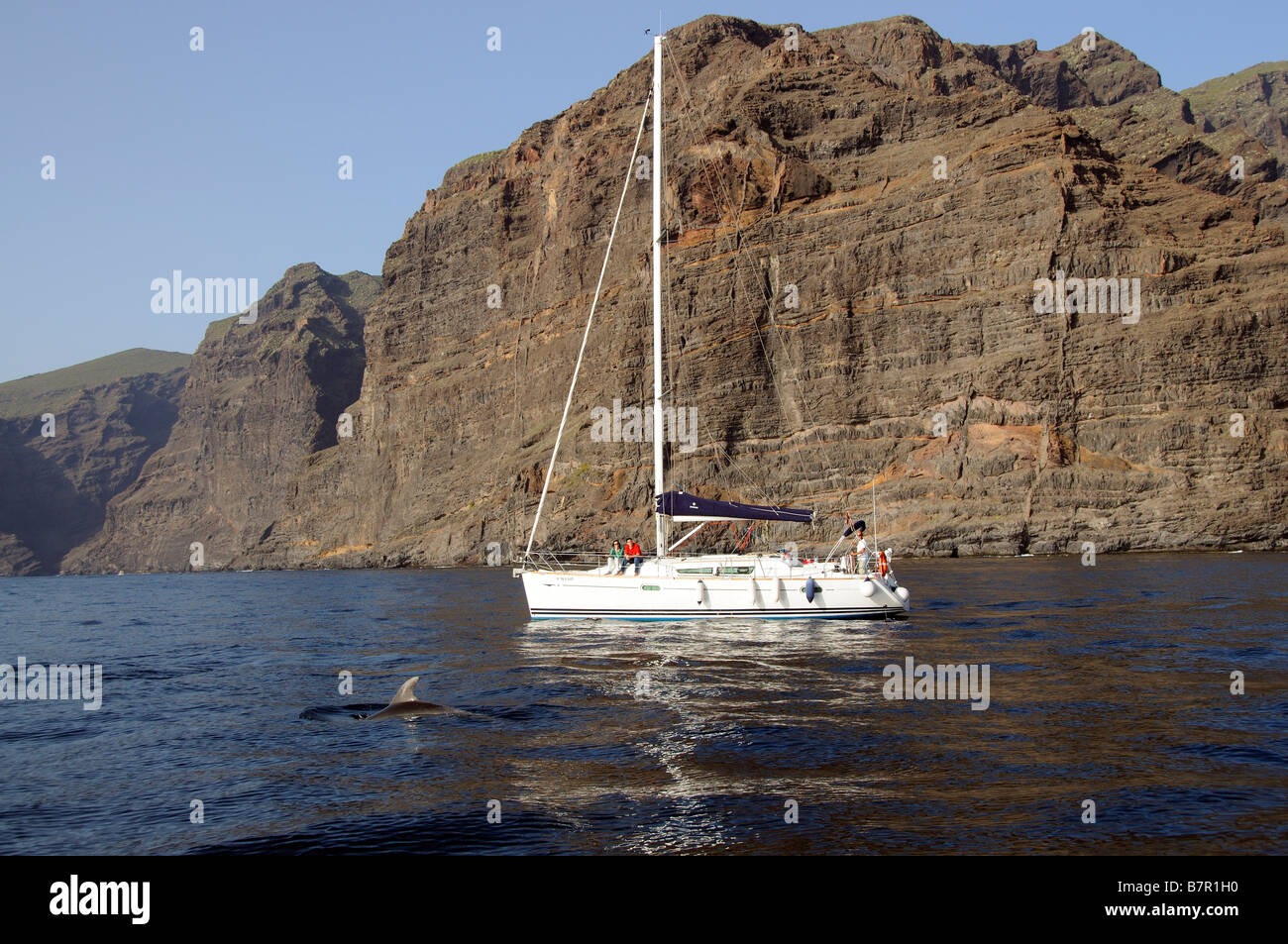 Sailing boat excursion along the Los Gigantes Cliffs coast of southern Tenerife Canary Islands Dolphin watching - Stock Image