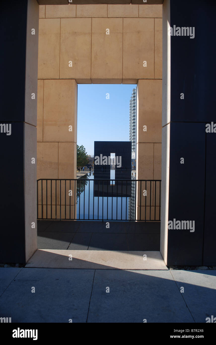 Oklahoma City Bombing Memorial - memorial wall and relecting pool Stock Photo
