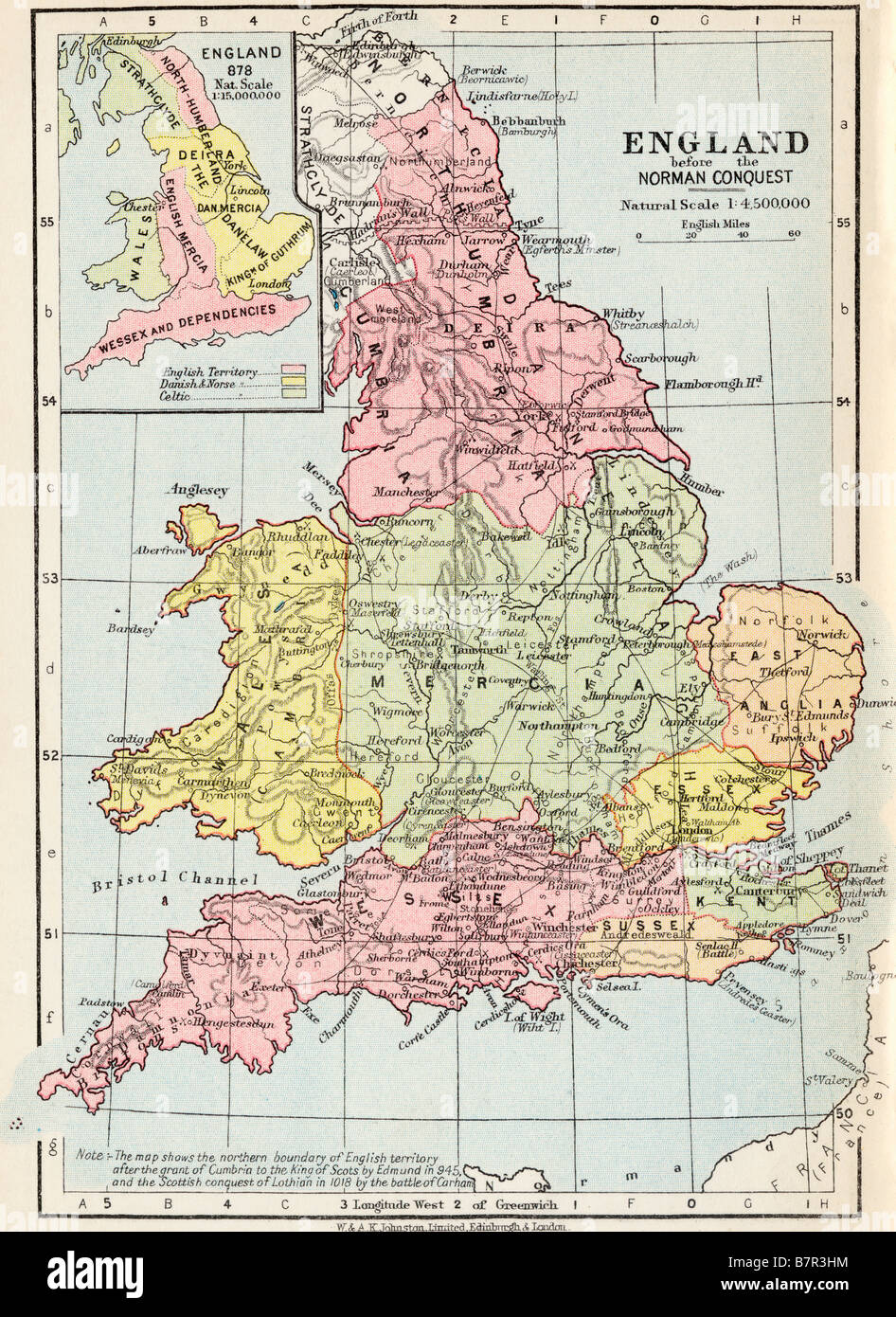 Map of England before the Norman Conquest Stock Photo 22020704 Alamy