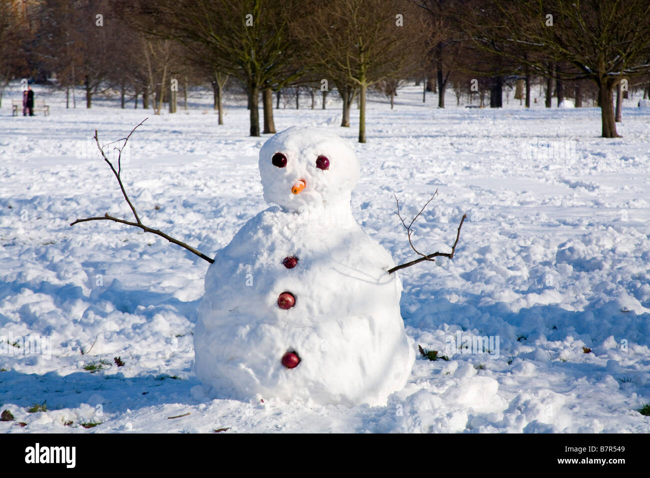 Snowman in Hyde Park London - Stock Image