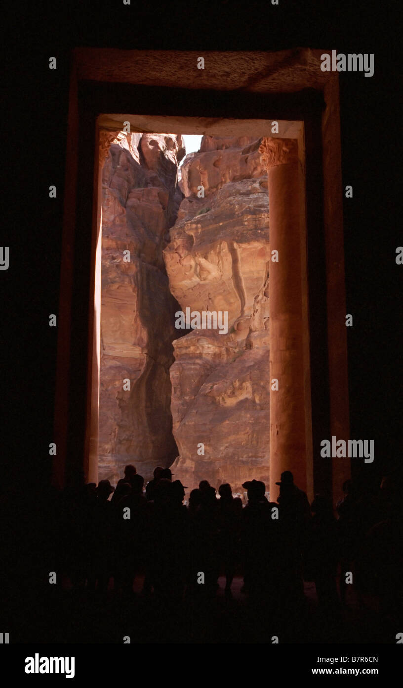 Looking at the exit of the Siq from inside the Treasury, Petra, Jordan - Stock Image