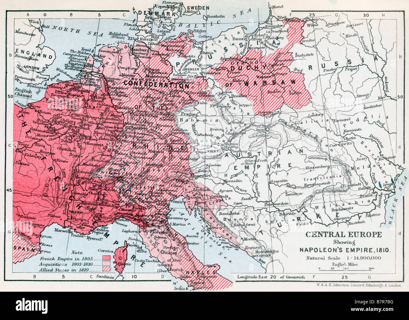 Map Of Central Europe Showing Napoleon S Empire 1810 Stock Photo