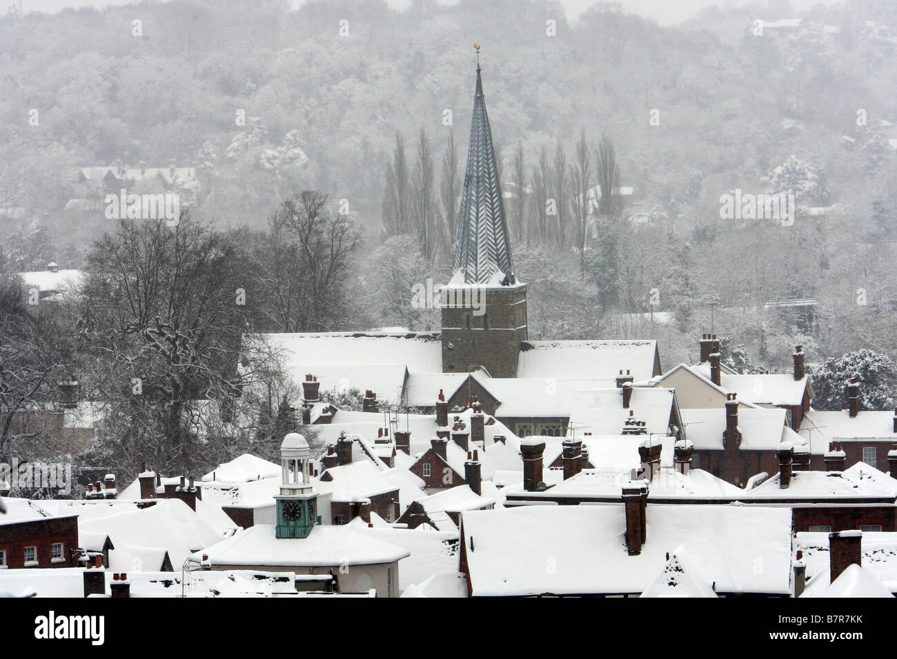 Snow covers the town of Godalming, England - Stock Image