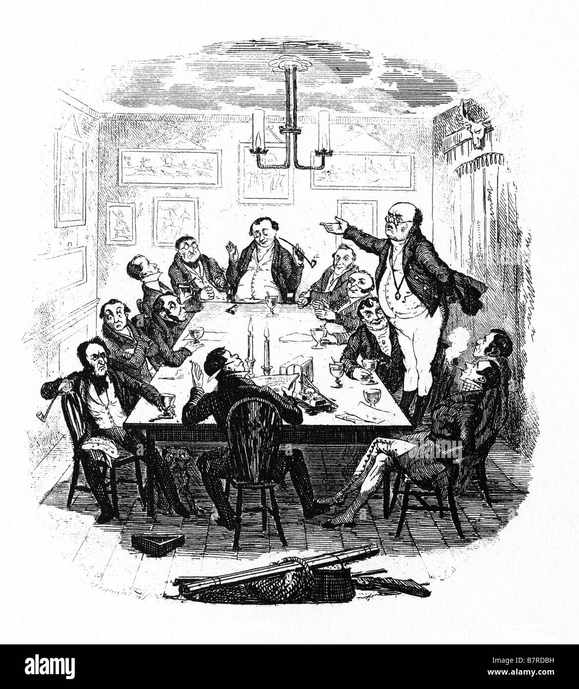 Mr Pickwick Addresses The Club the first illustration by Seymour for Charles Dickens comic novel Stock Photo