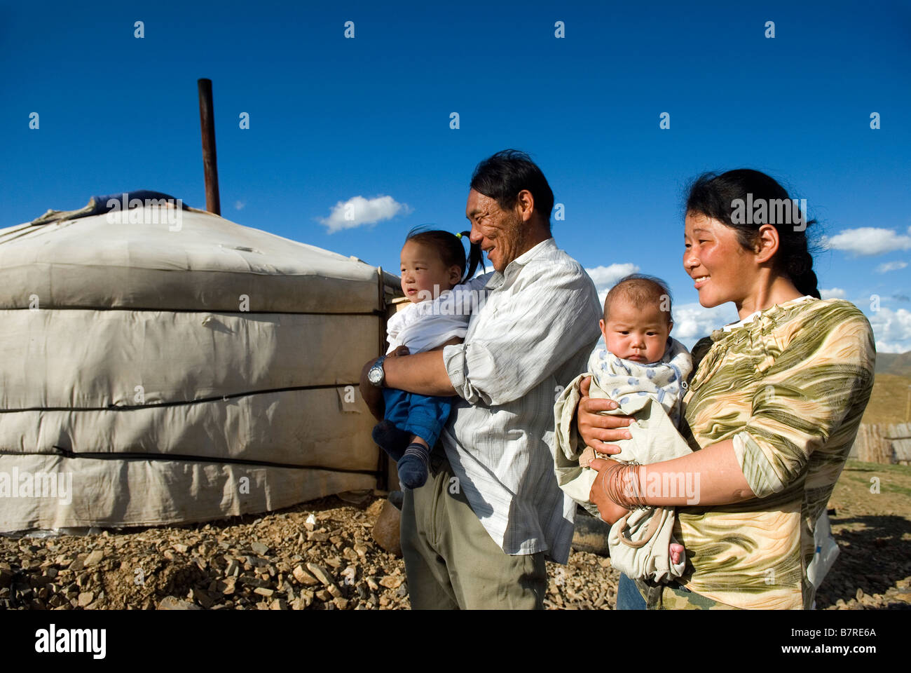 Mongolian family - Stock Image
