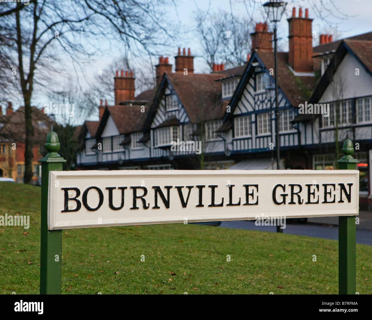 Bournville Green Birmingham West Midlands England Showing the timber framed shops - Stock Image