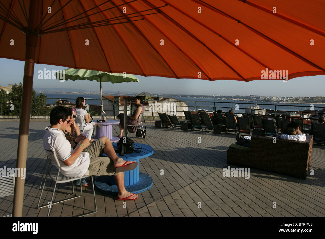 Cafe bar called The Terrace (O Terraço) boasting one of Lisbon's best views. - Stock Image