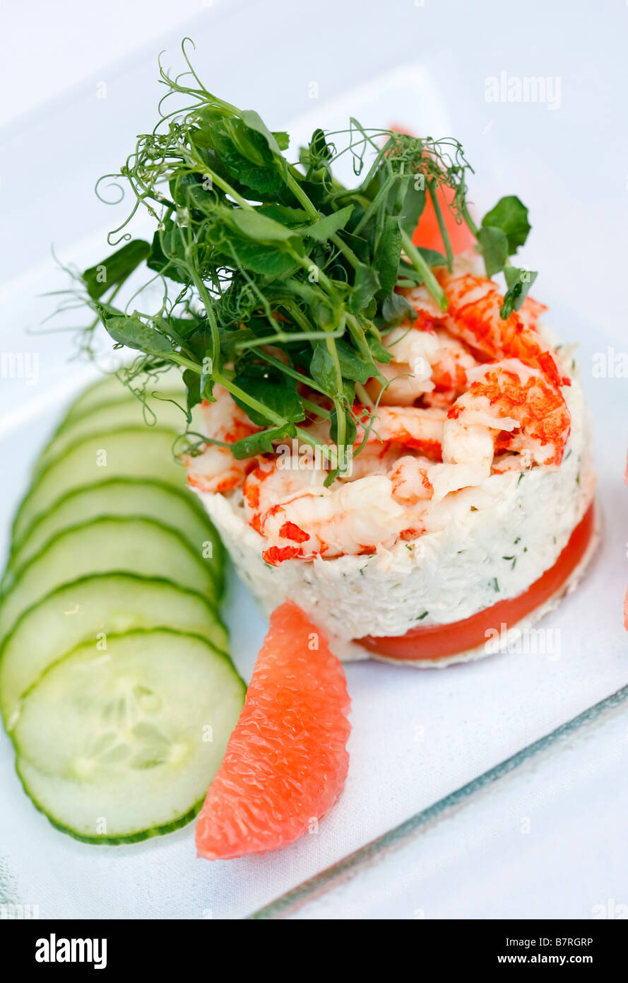seafood mouse starter with cucumber - Stock Image