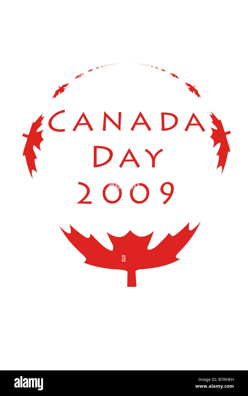 Canada Day 2009 graphic with maple leaves in circle - Stock Image