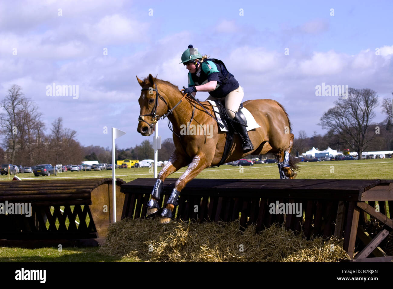 Sian Williams competing on 'Lammoski' at the Belton House Horse Trials day 2008 - Stock Image