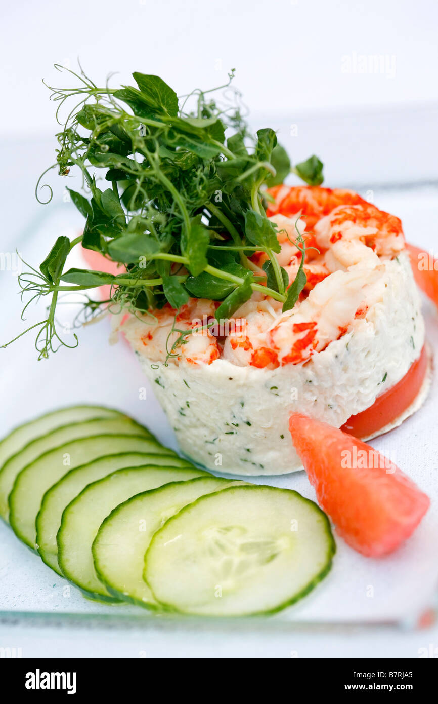 seafood mousse starter with cucumber - Stock Image