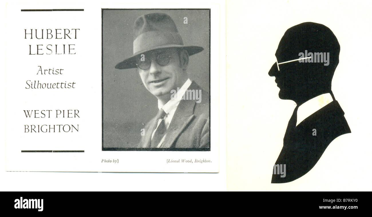 Self portrait and brochure for Hubert Leslie, silhouette artist 1890-1976 - Stock Image