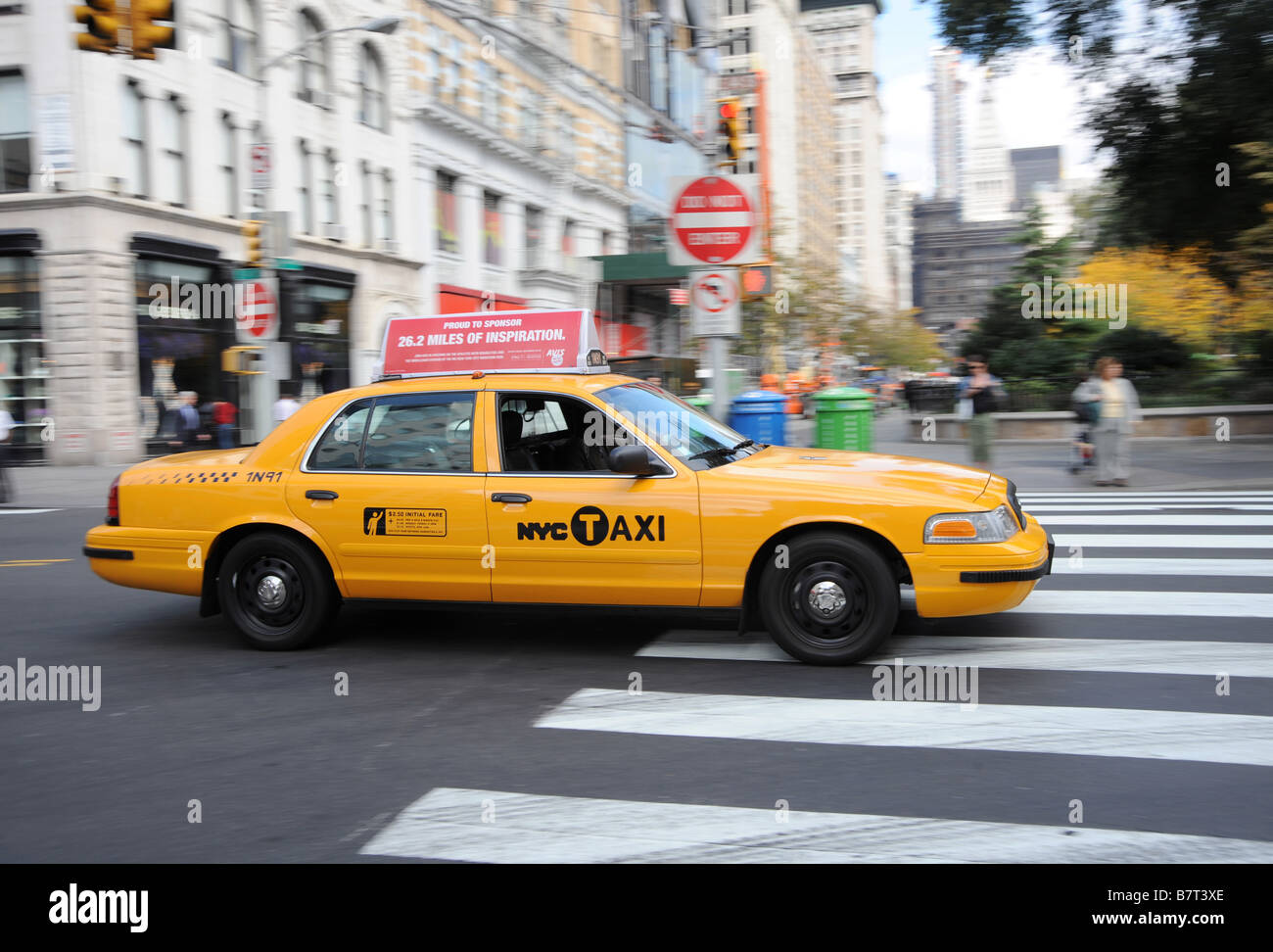 New York City Yellow Taxi Cab Action Ford Crown Victoria Car Stock