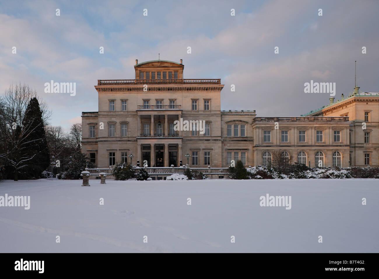 Essen, Villa Hügel im Schnee, Südseite - Stock Image