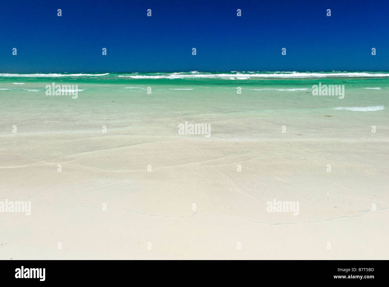 empty beach and sea summer Western Australia coast between Lancelin and Cervantes Stock Photo