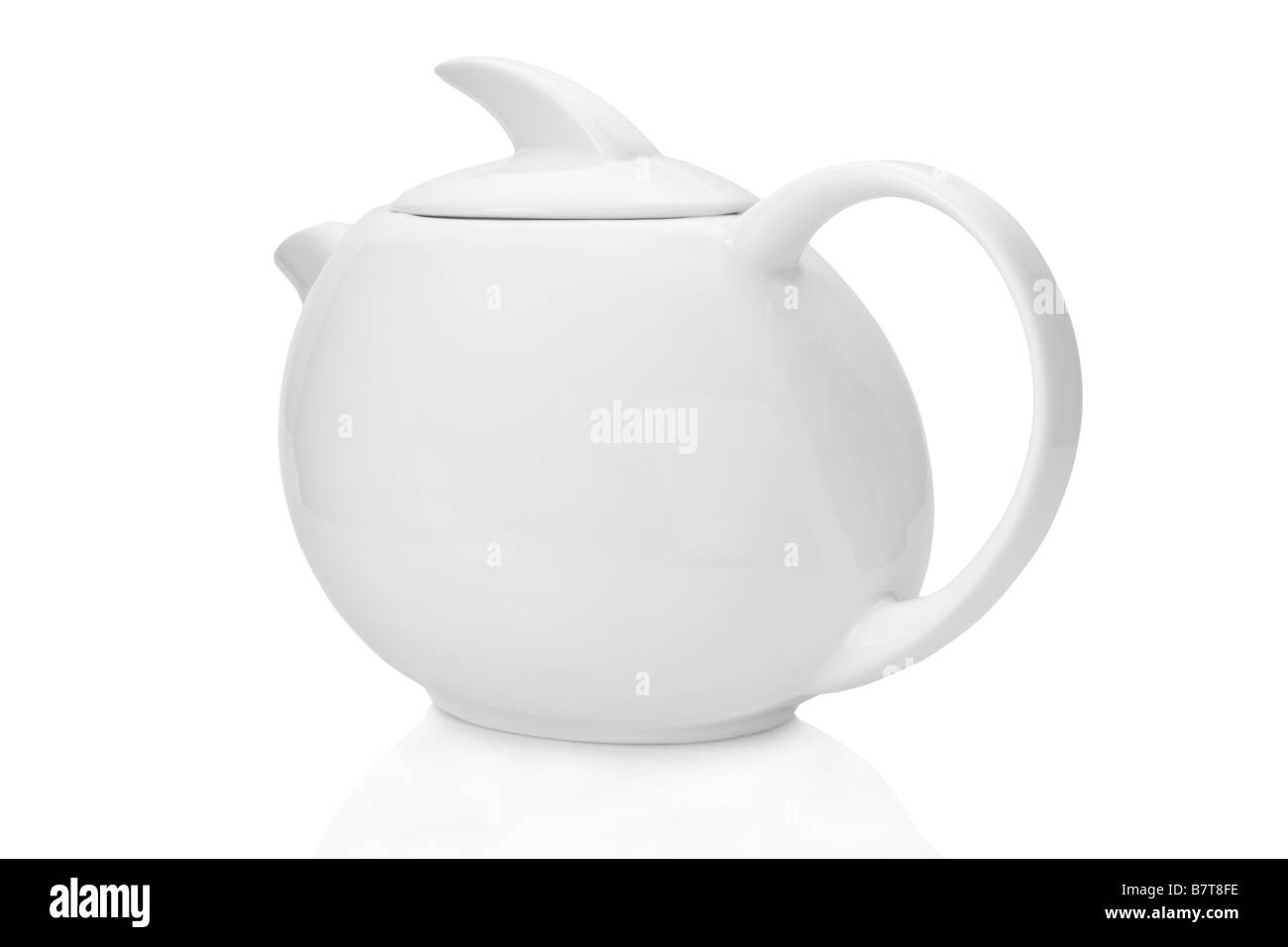White tea pot isolated on white background - Stock Image