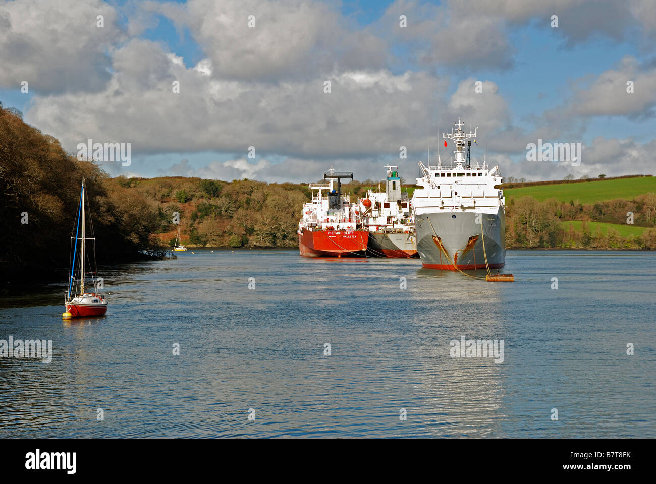 tankers laid up in deep water on the river fal near truro in cornwall,uk - Stock Image