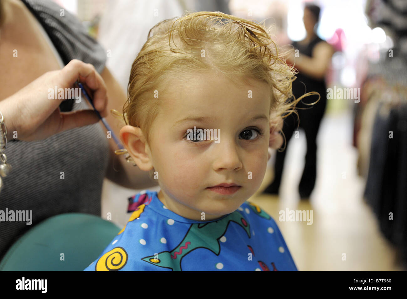 Young Girl Getting A Haircut Stock Photo 22047032 Alamy