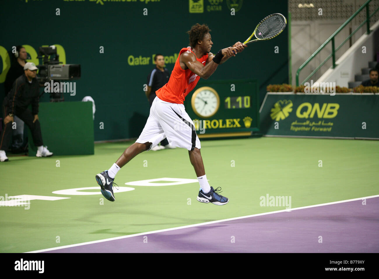 Gael Monfils appears to walk on air during his victory over world No 1 Rafael Nadal at the Qatar Open Doha Jan 8 - Stock Image