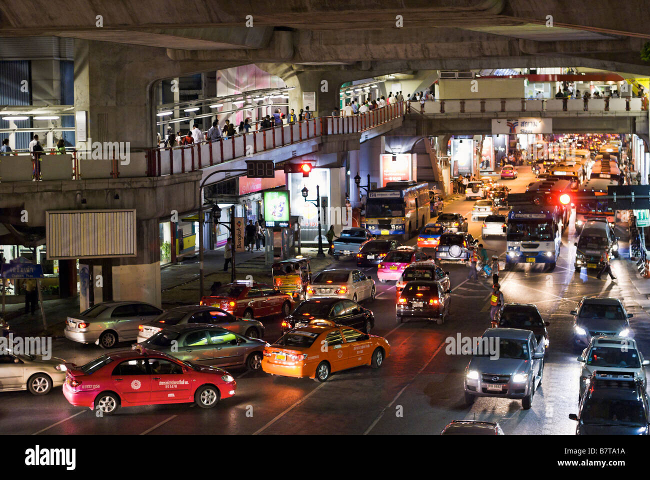 Heavy traffic congestion Pathumwan district in central Bangkok Thailand - Stock Image