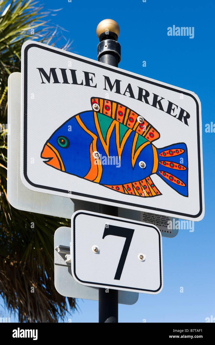 7 Mile Marker Sign at Madeira Beach near St Petersburg Beach, Gulf Coast, Florida, USA - Stock Image