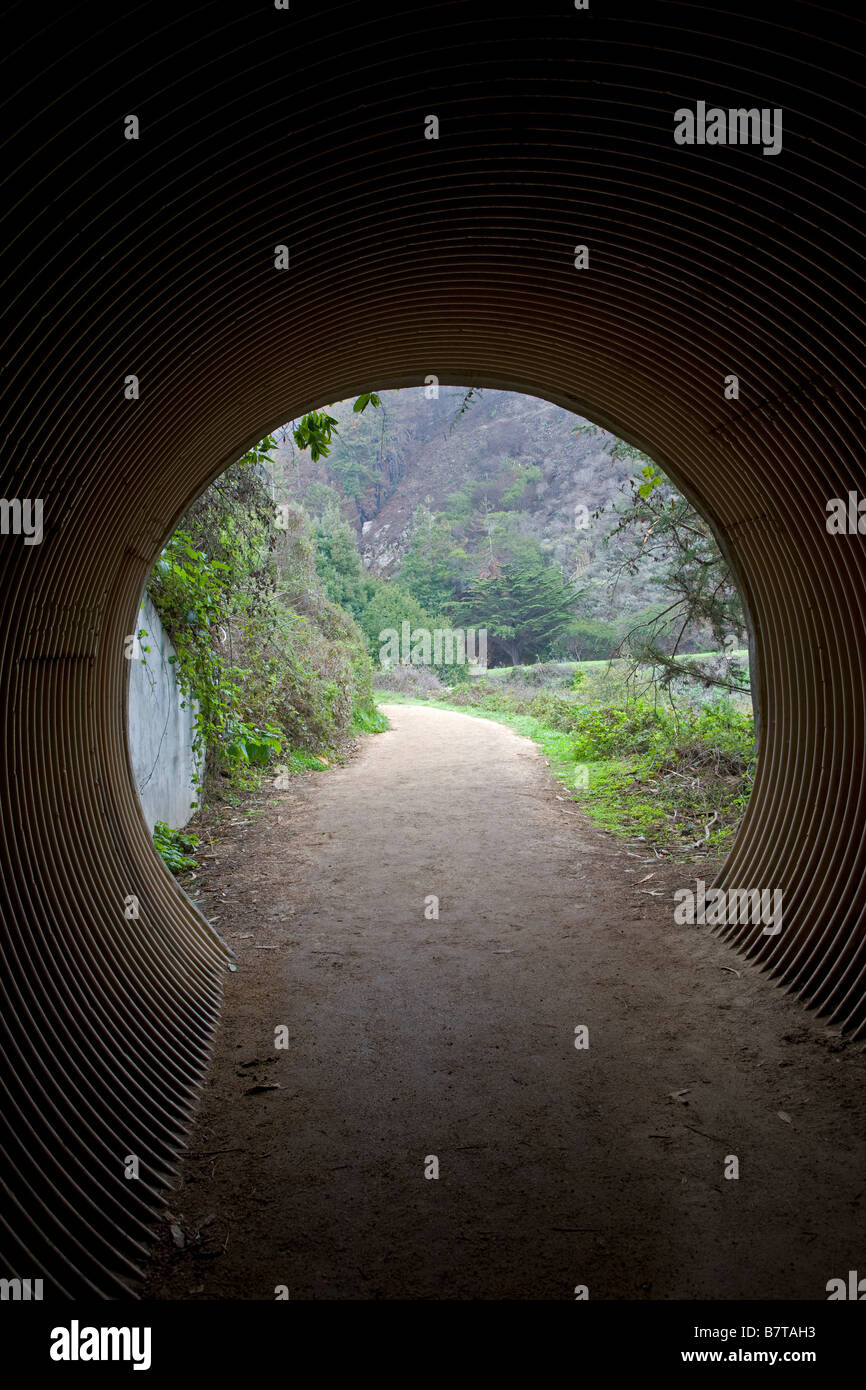 Pedestrian tunnel, Julia Pfeiffer Burns State Park; Big Sur coast, California, USA - Stock Image