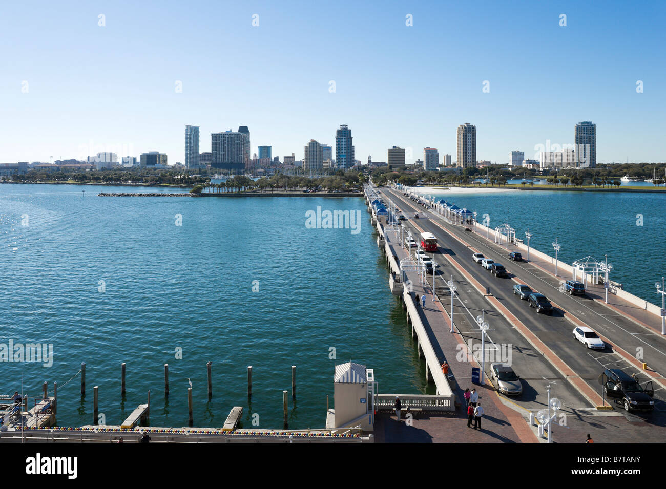View of Downtown from St Petersburg Pier, St Petersburg, Gulf Coas, Florida, USA - Stock Image