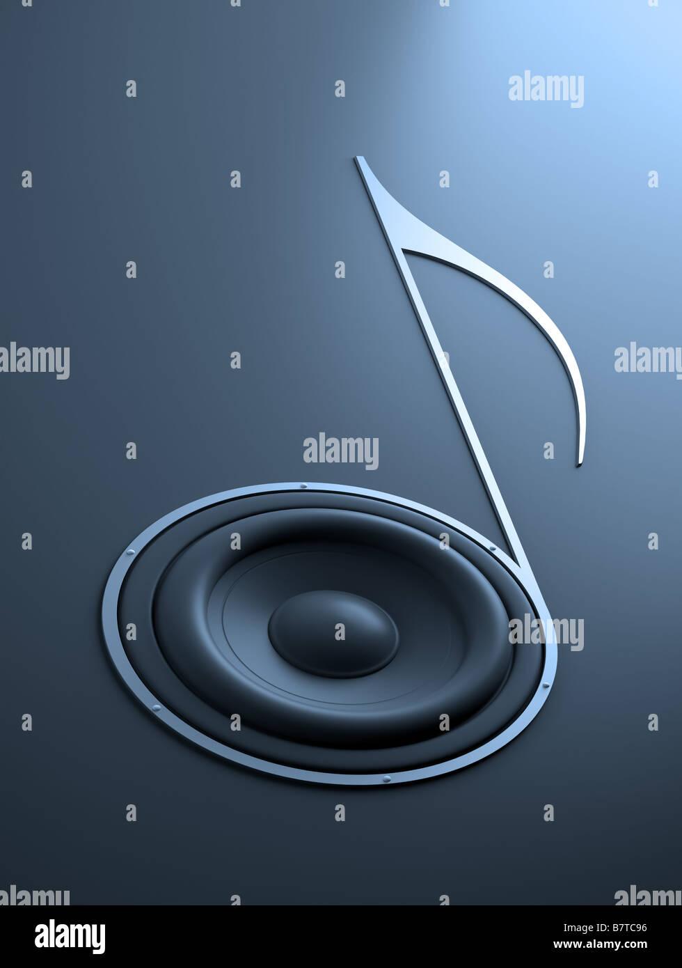 Quarter note shaped sound speaker - Stock Image