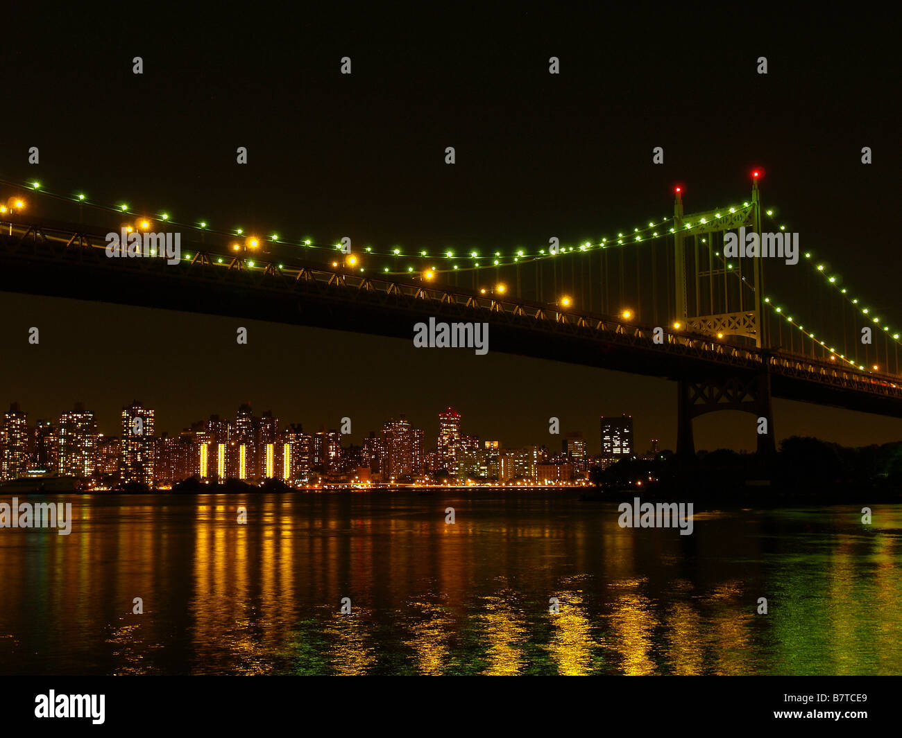 Robert F. Kennedy (Triboro) bridge in Queens, New York City at night. - Stock Image