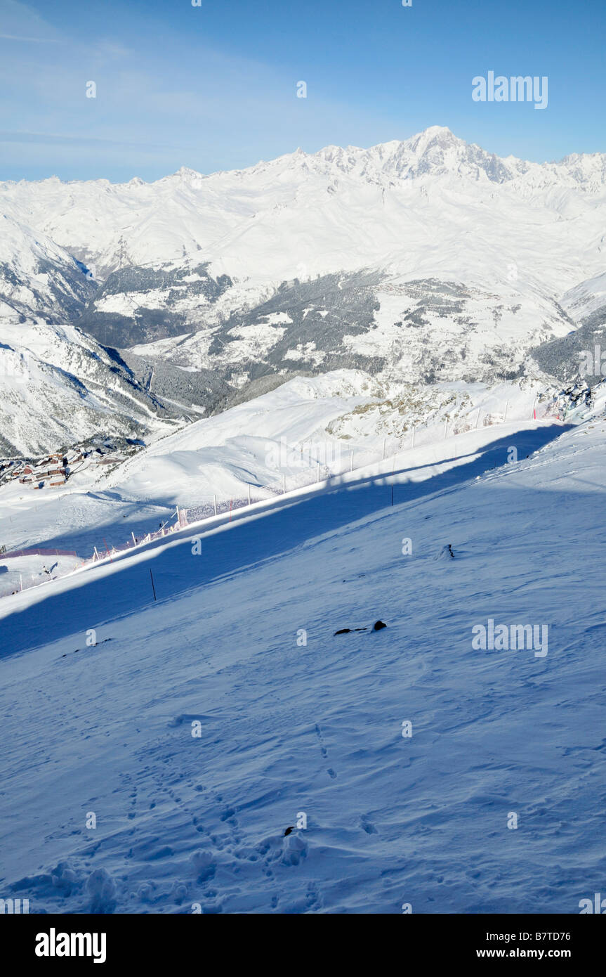 Mont Blanc and Les Arcs 2000, France - Stock Image