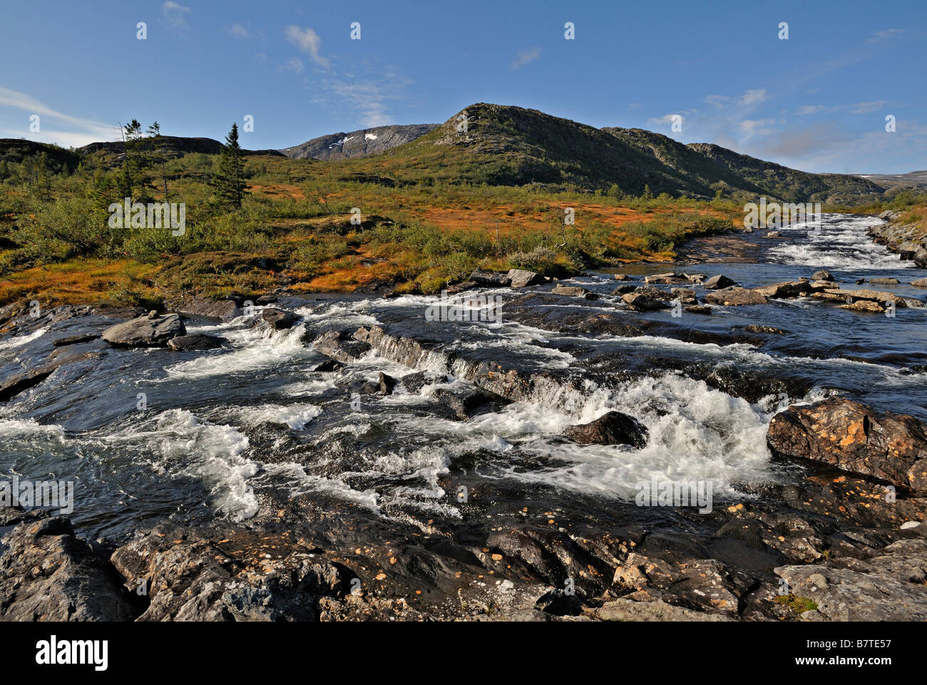 A wild river the Storelva in Tosdale Norway - Stock Image