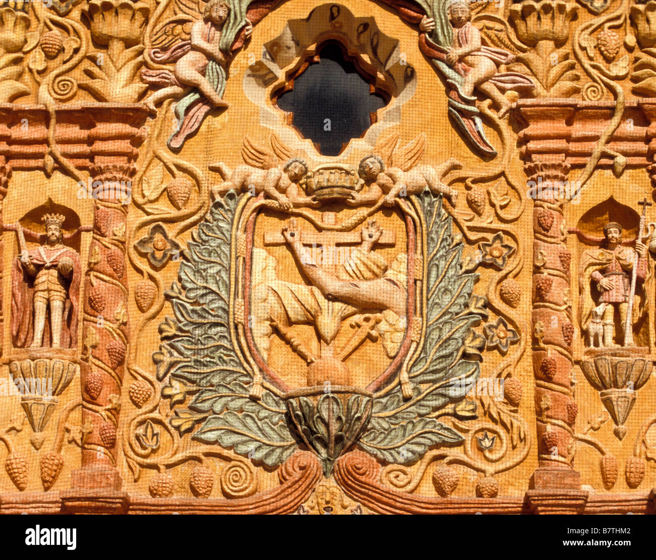 Facade of San Miguel Arcangel,completed in 1754,located in Conca Queretaro Mexico.1 of 5 missions founded by Fr - Stock Image