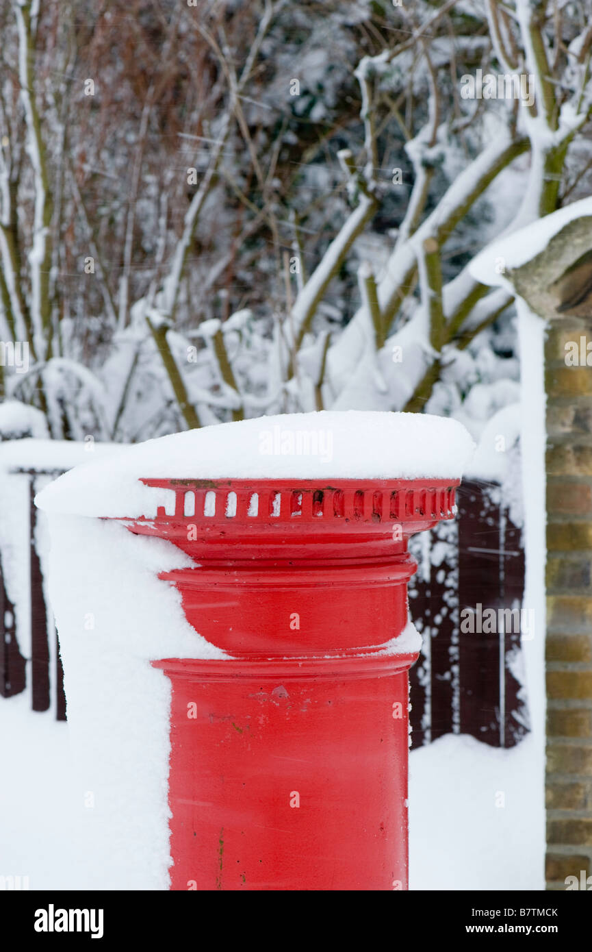 Ealing Common covered in snow February Ealing W5 London United Kingdom - Stock Image
