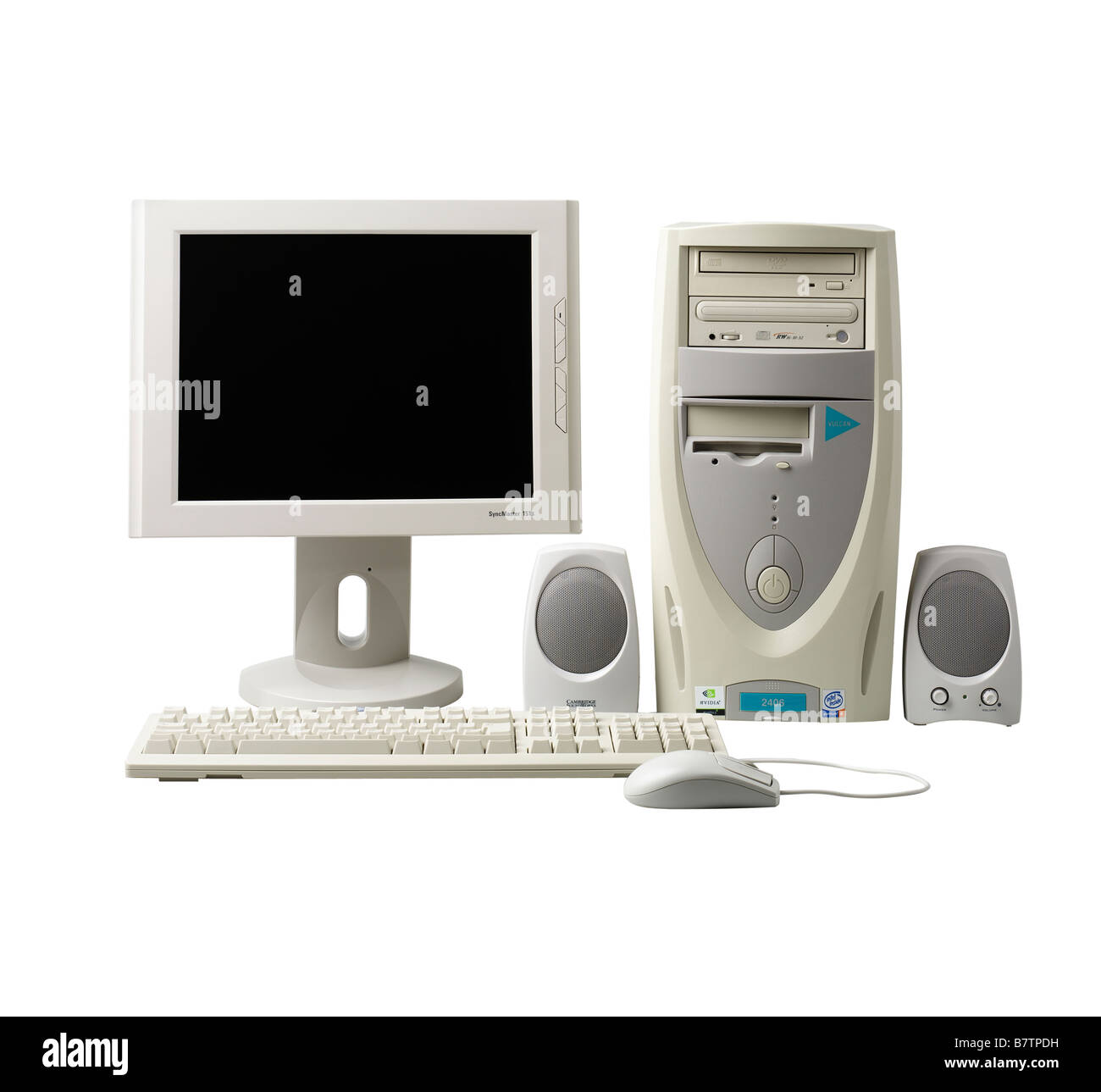 Computer tower screen and keyboard - Stock Image