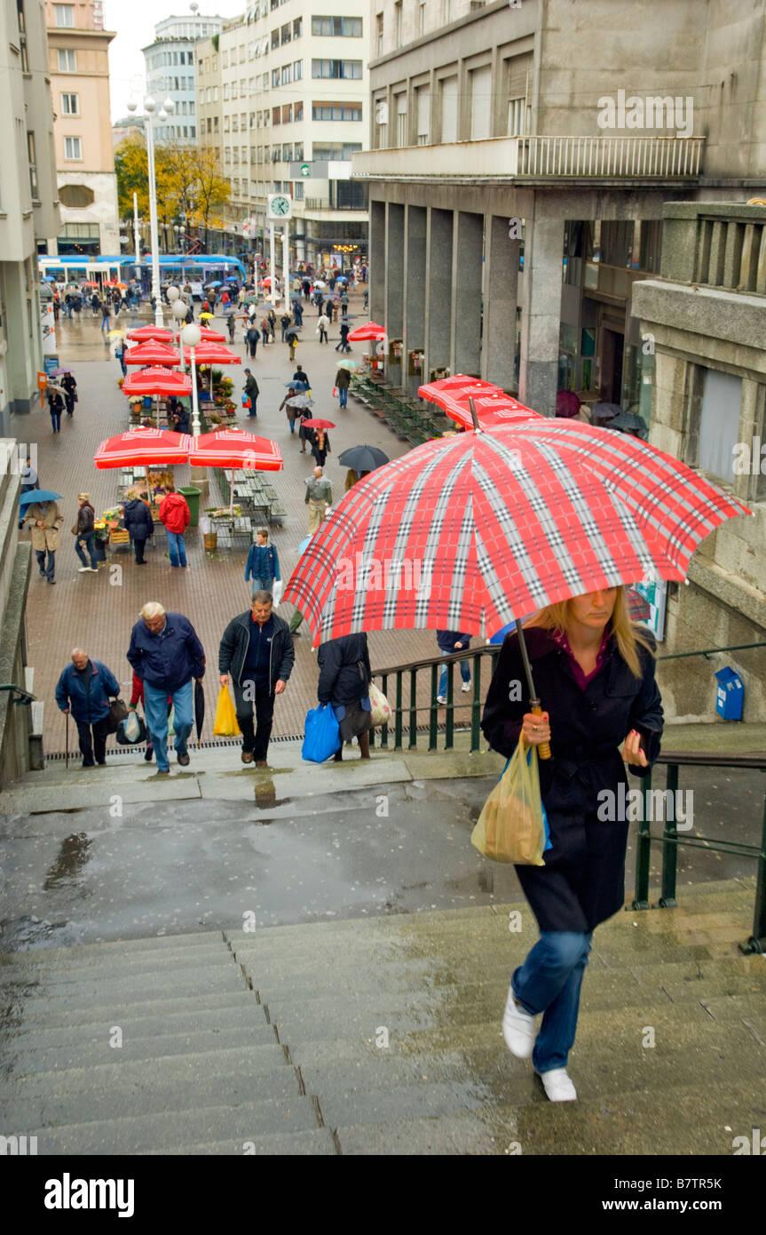 Street Scenes Of Zagreb Croatia On A Rainy Day Stock Photo Alamy