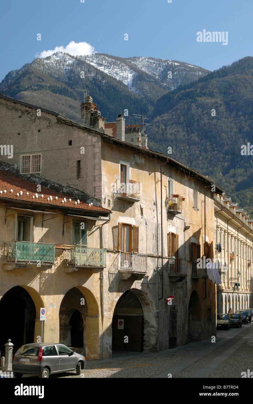 Via Martiri della Liberta as seen from Piazza San Giusto, Susa, Piedmont, Italy. Stock Photo