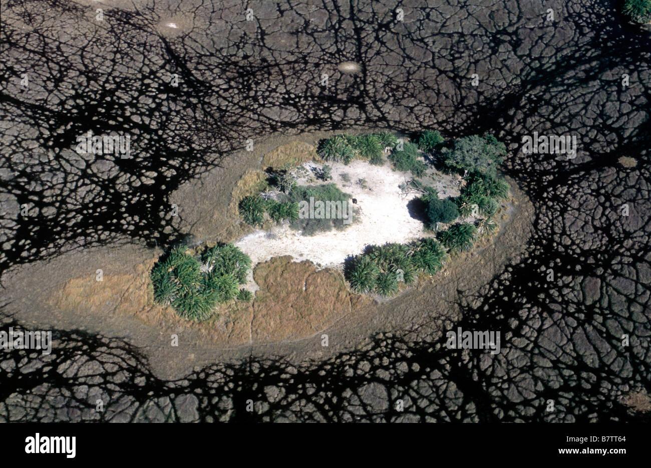 Aerial of Islands in the Okavango Delta - Stock Image