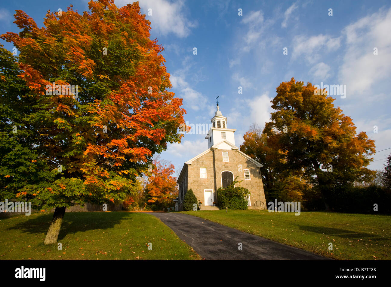A church in Au Sable Forks New York October 6 2008 - Stock Image