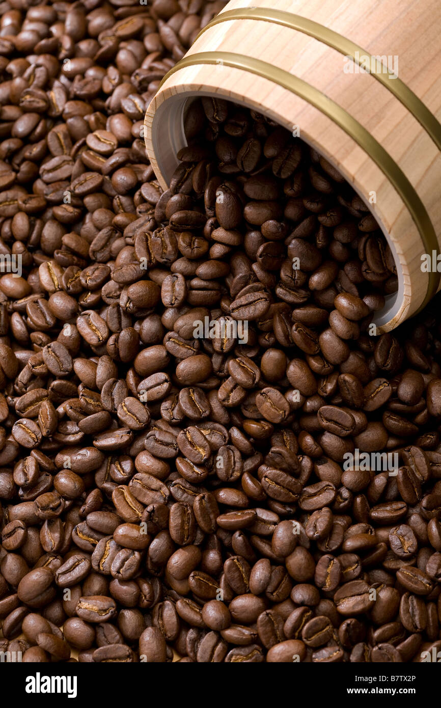 Coffee bean out of oak drum vertical format - Stock Image