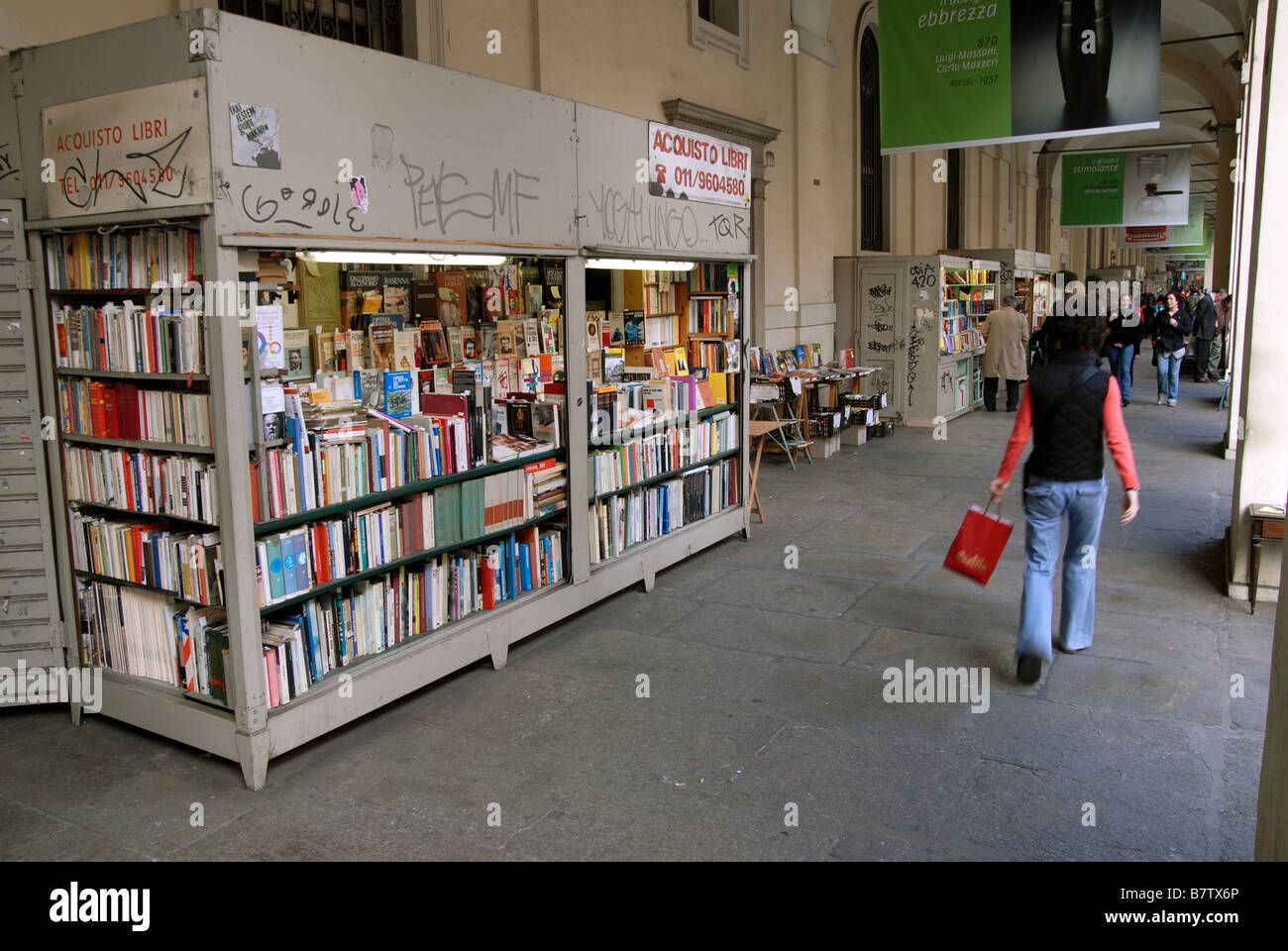 Booksellers on Via Po, Turin, Piedmont, Italy - Stock Image