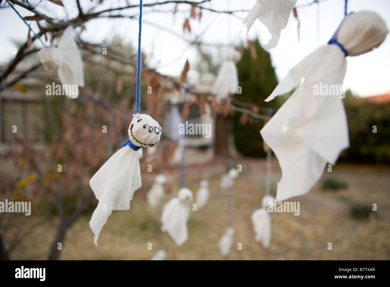 hand made ghost decorations hanging from a tree in front