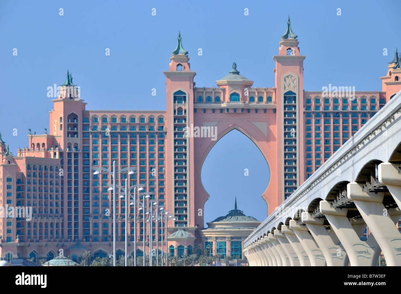 Dubai Atlantis Palm Hotel Resort Complex And Monorail Overhead Stock