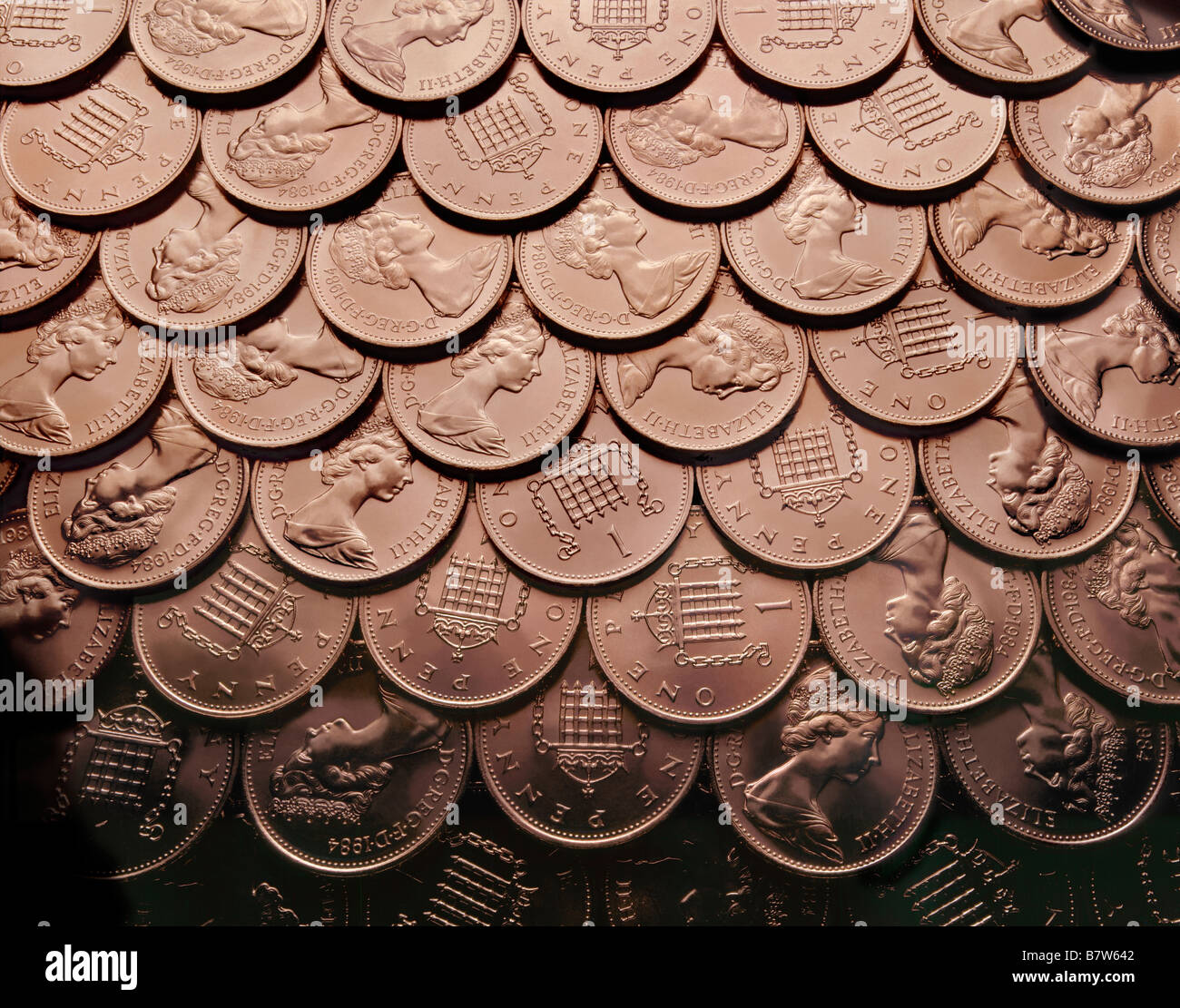 British Sterling Pennies, Penny coins. - Stock Image